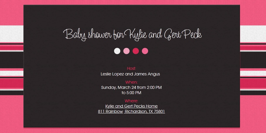 Invite for The Peck's Baby Shower