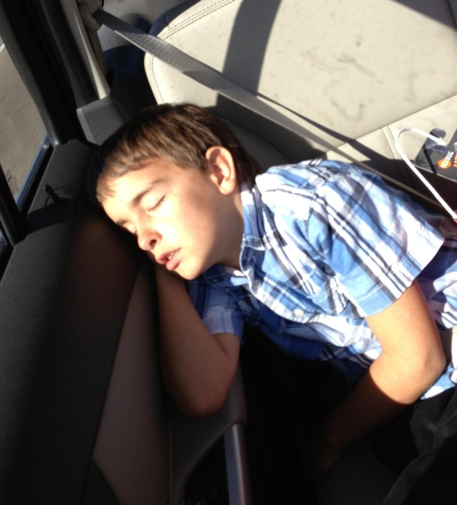 Juston Sleeping in The Car