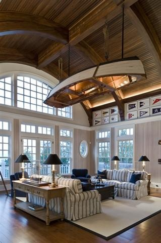 Living Room with Boat Overhead