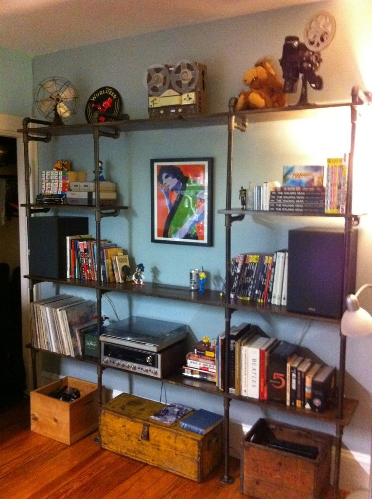 Pipe Shelves Styled