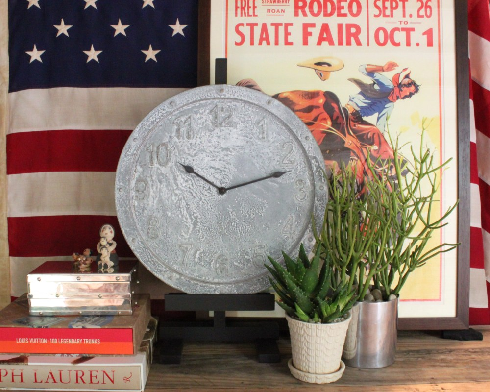 Aged Galvanized Target Clock in the Den