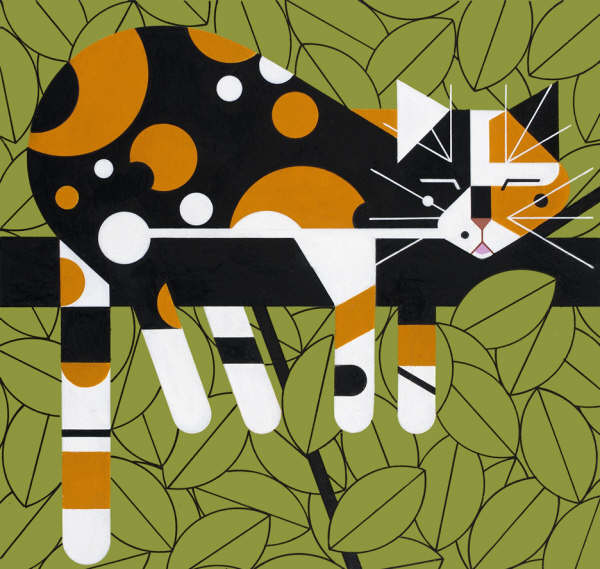 Charley Harper Calico Cat in a Limb