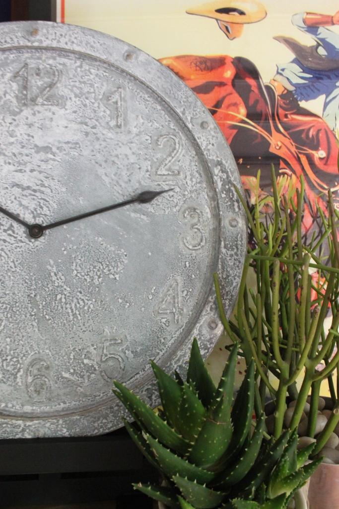 Close Up of Aged Galvanized Target Clock