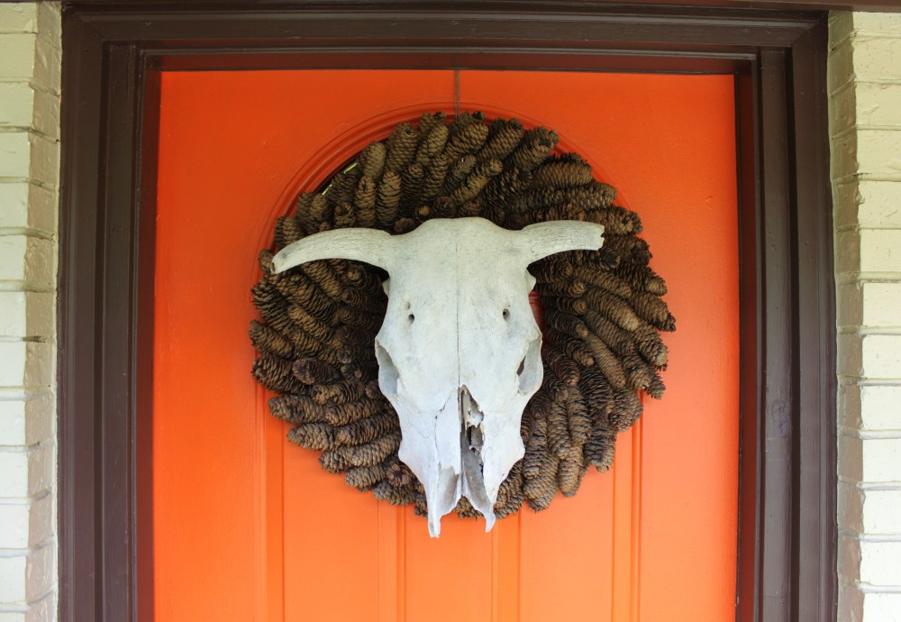 Cow Skull Wreath on Orange Front Door