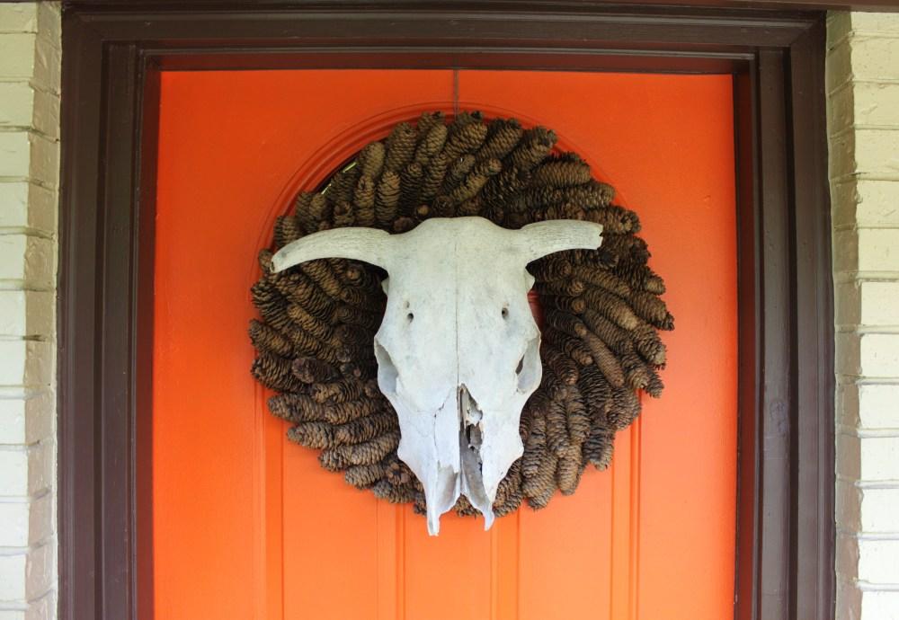 Cow Skull Wreath on Orange Front Door