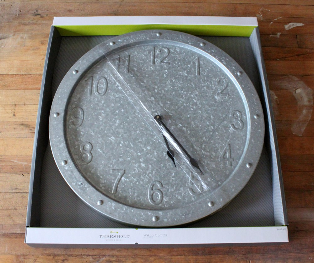 Galvanized Metal Clock from Target in Package