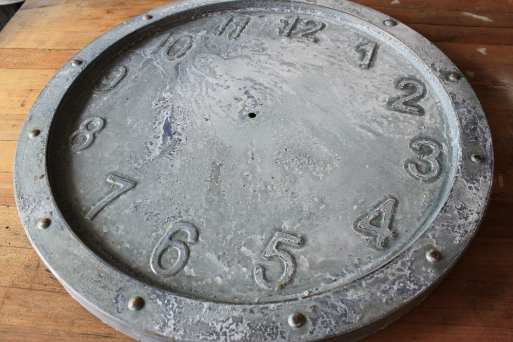 Weathered Galvanized Clock with Bleach