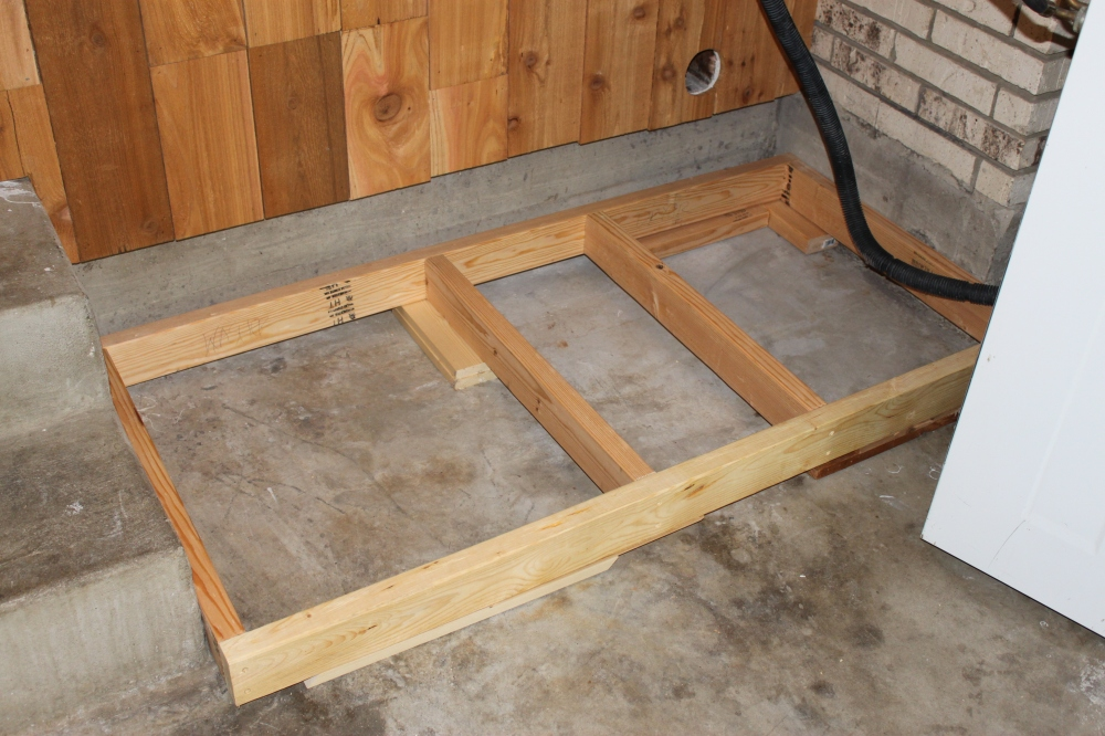 2 X 4 Frame with shims to Level