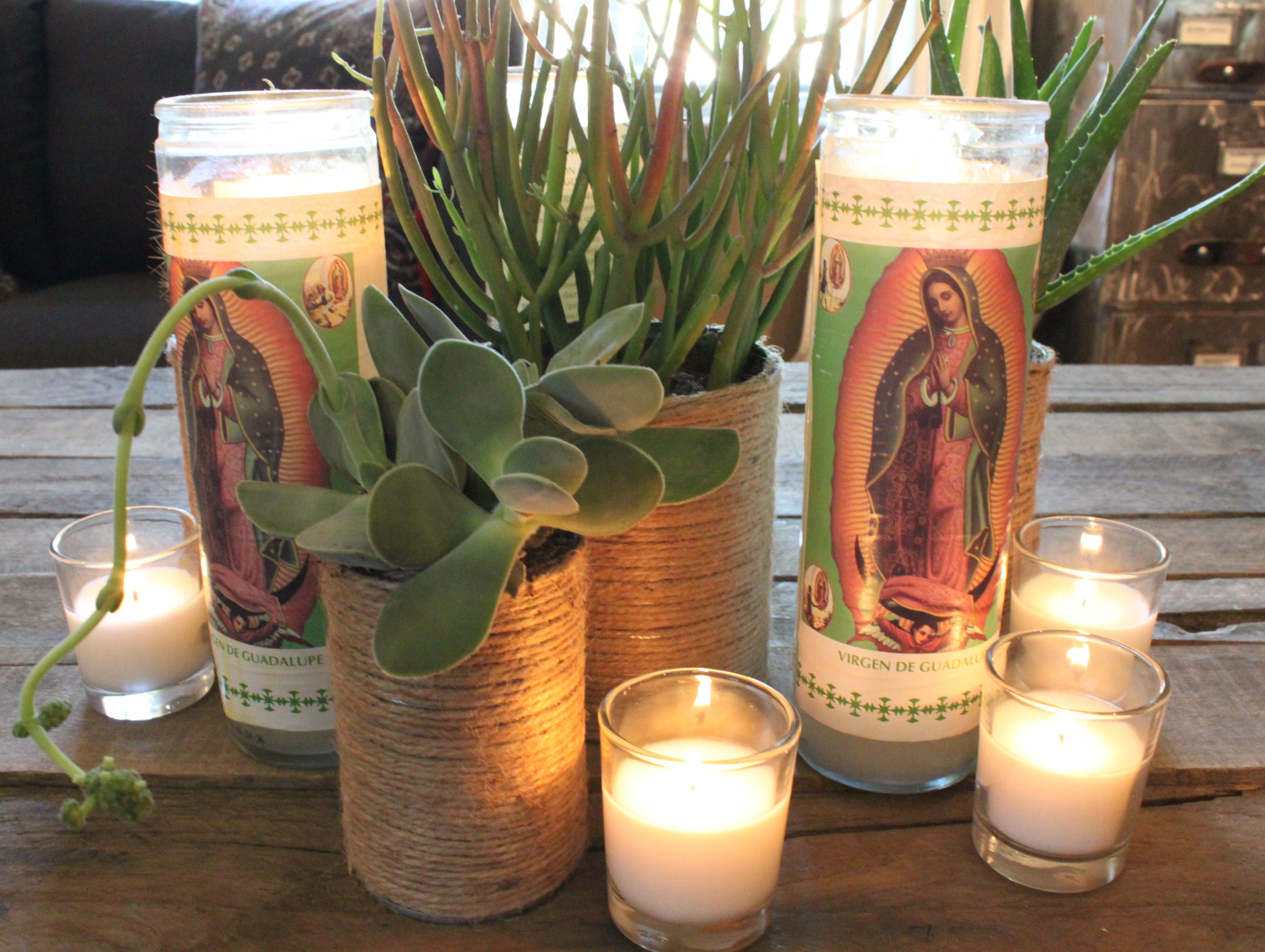 Tin cans for crafts - Centerpiece With Jute Wrapped Cans Cacti And Madonna Candles