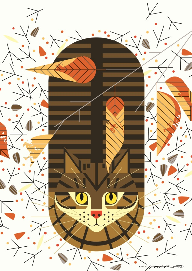 Charley Harper Purrfectly Perched