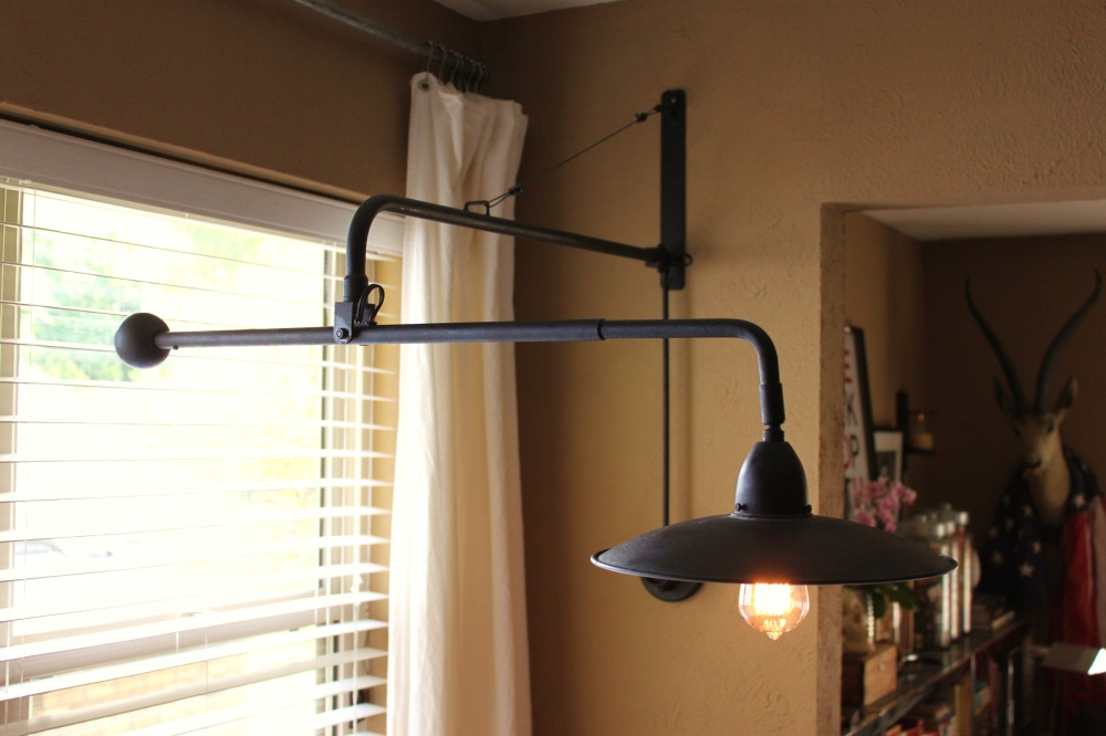 Finished Restoration Hardware Lamp in the Breakfast Room