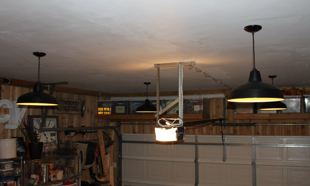 Garage Ceiling with New Pendants