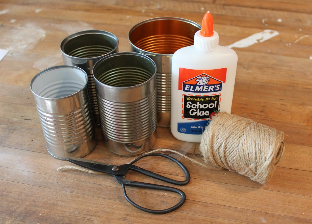 Tin Cans, Elmer's School Glue, and Jute Twine