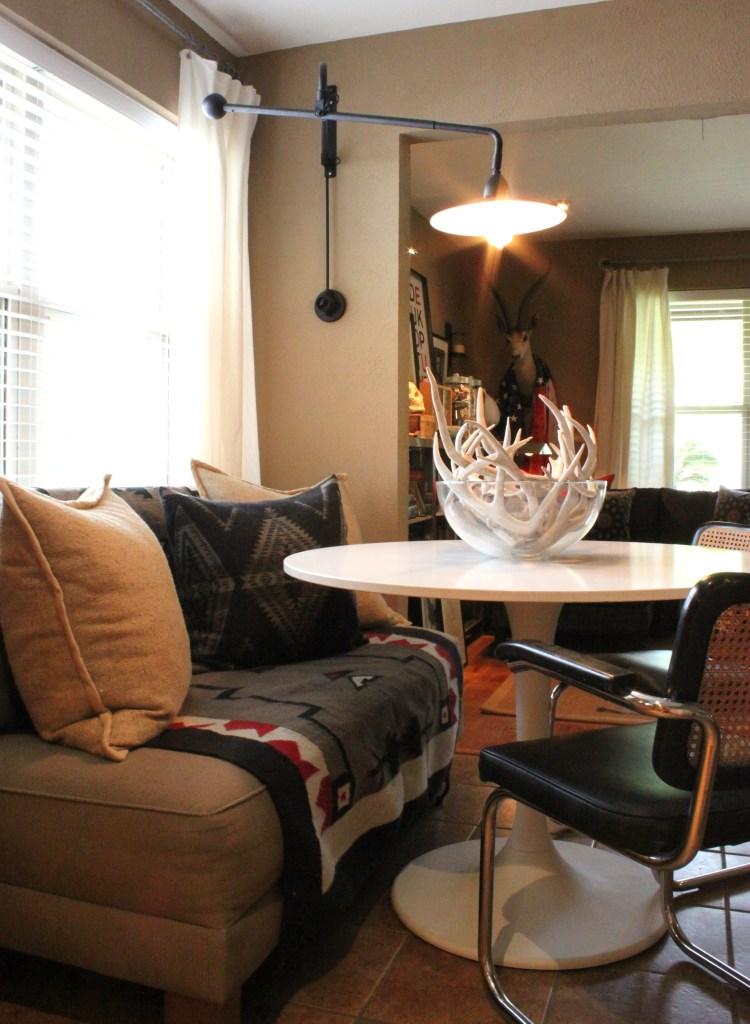 Kitchen Breakfast Area with Restoration Hardware Lamp