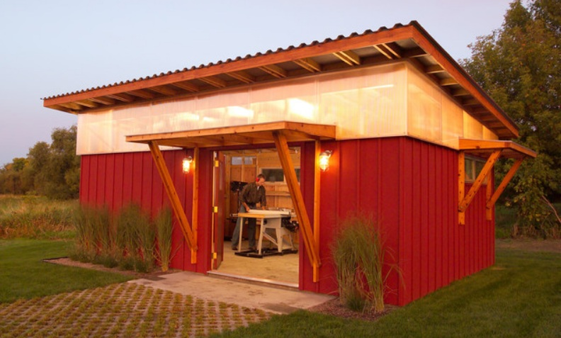 Modern Workshed at Night