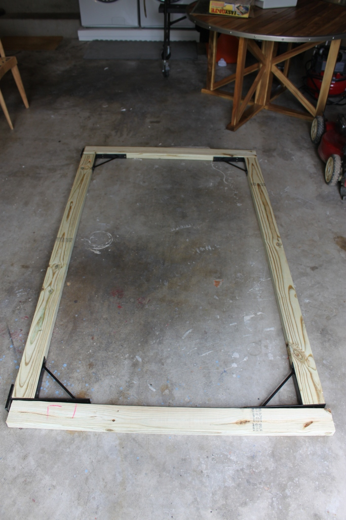 Our Finished Gate Frame on the Garage Floor