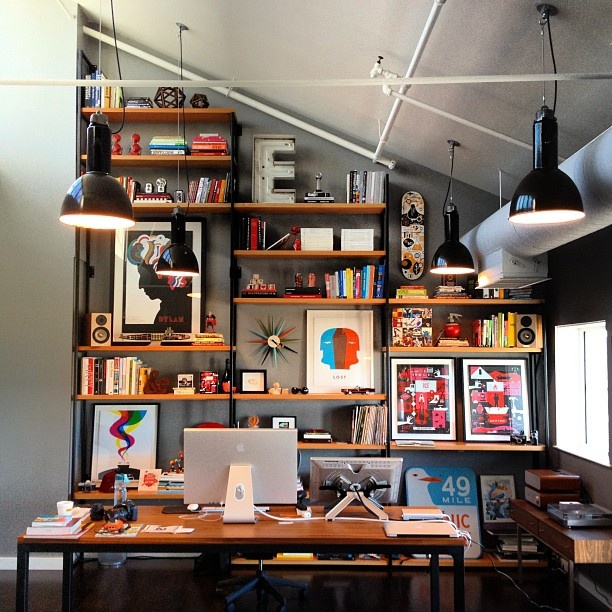 Upcycled Industrial Pendants over Desk