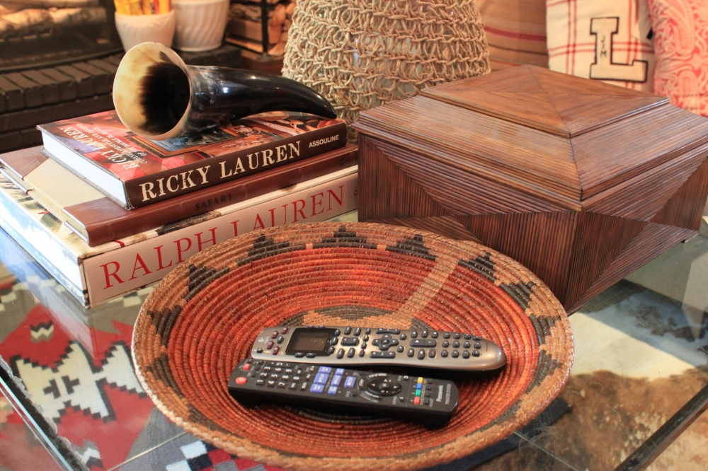Vintage Navajo Wedding Basket full of Remotes