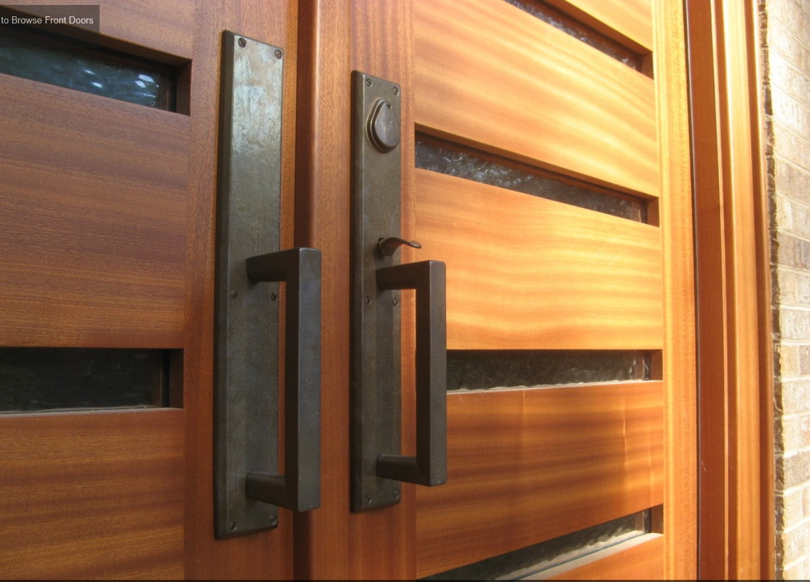Horizontal modern front door the cavender diary for Door handles for exterior doors