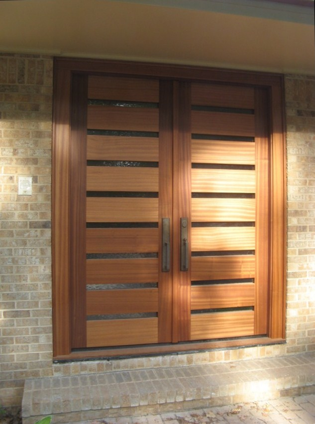 Horizontal modern front door the cavender diary for Entry double door designs