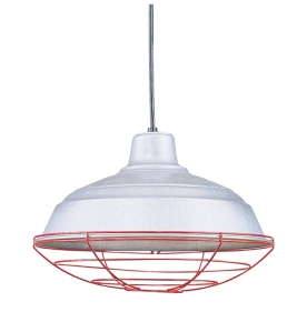 Barn light Electric Pandant with Red Wire Cage