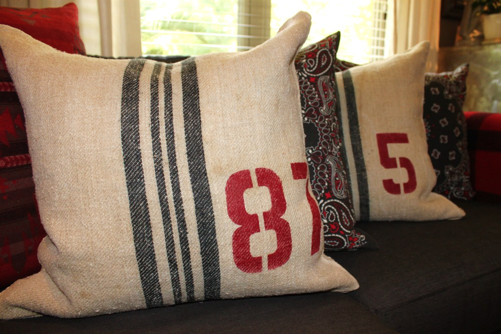 Grain Sack Pillows on the Black Denim Sofa
