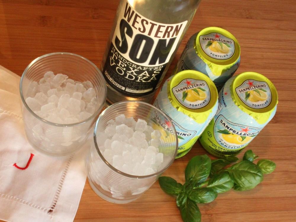Ingredients for the Basil Grapefruit Cooler