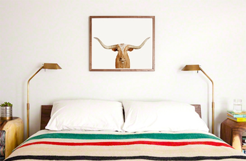 Longhorn Steer over Bed
