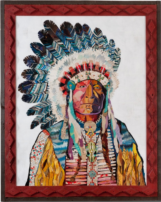 Mosaic American Heritage Chief in Tramp Art Frame