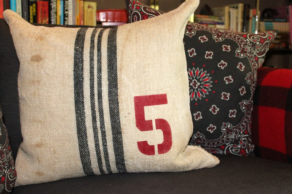 Number 5 Grain Sack Pillow with Bandana Pillow