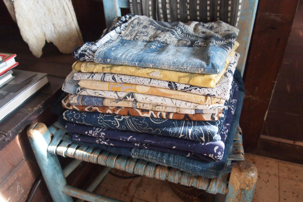 Stack of Vintage Batiks at Seaweed's Beach House