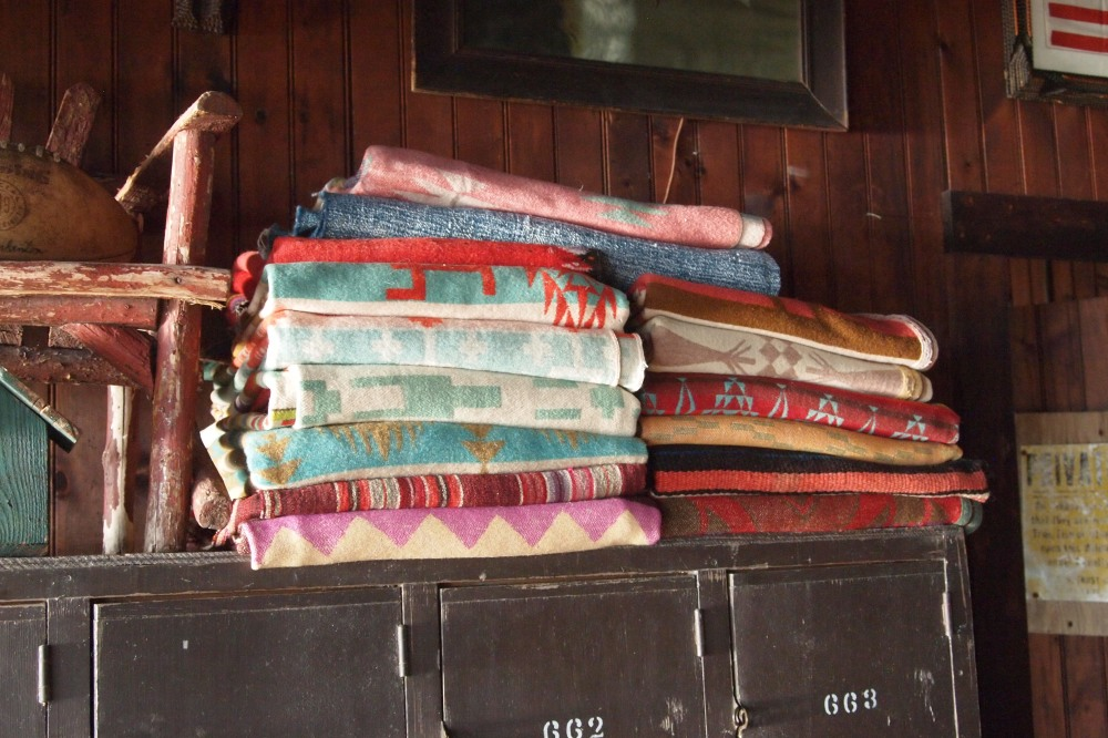 Stacks of Vintage Navajo at Seaweed's Beach House