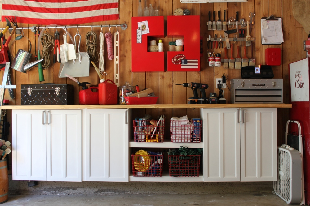 Upcycled Cabinets on the Left Side of the Gargage