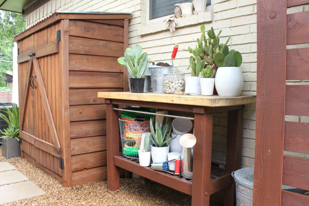 Garden Bench on the Side of the House with Tool Shed