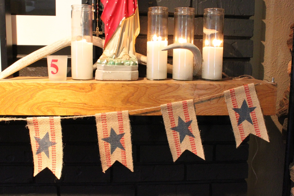 Close up of the Stars and Stripes Bunting from the Winey Wives