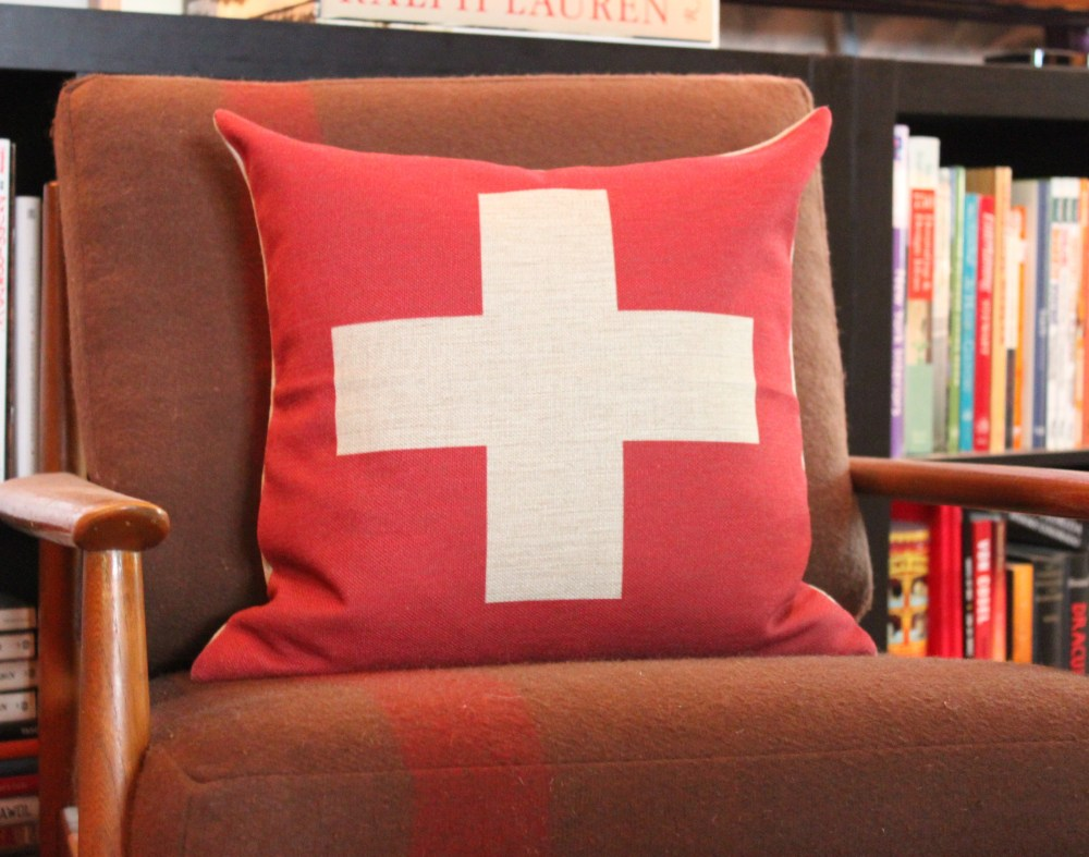 Reverse Swiss Cross Pillow from Etsy