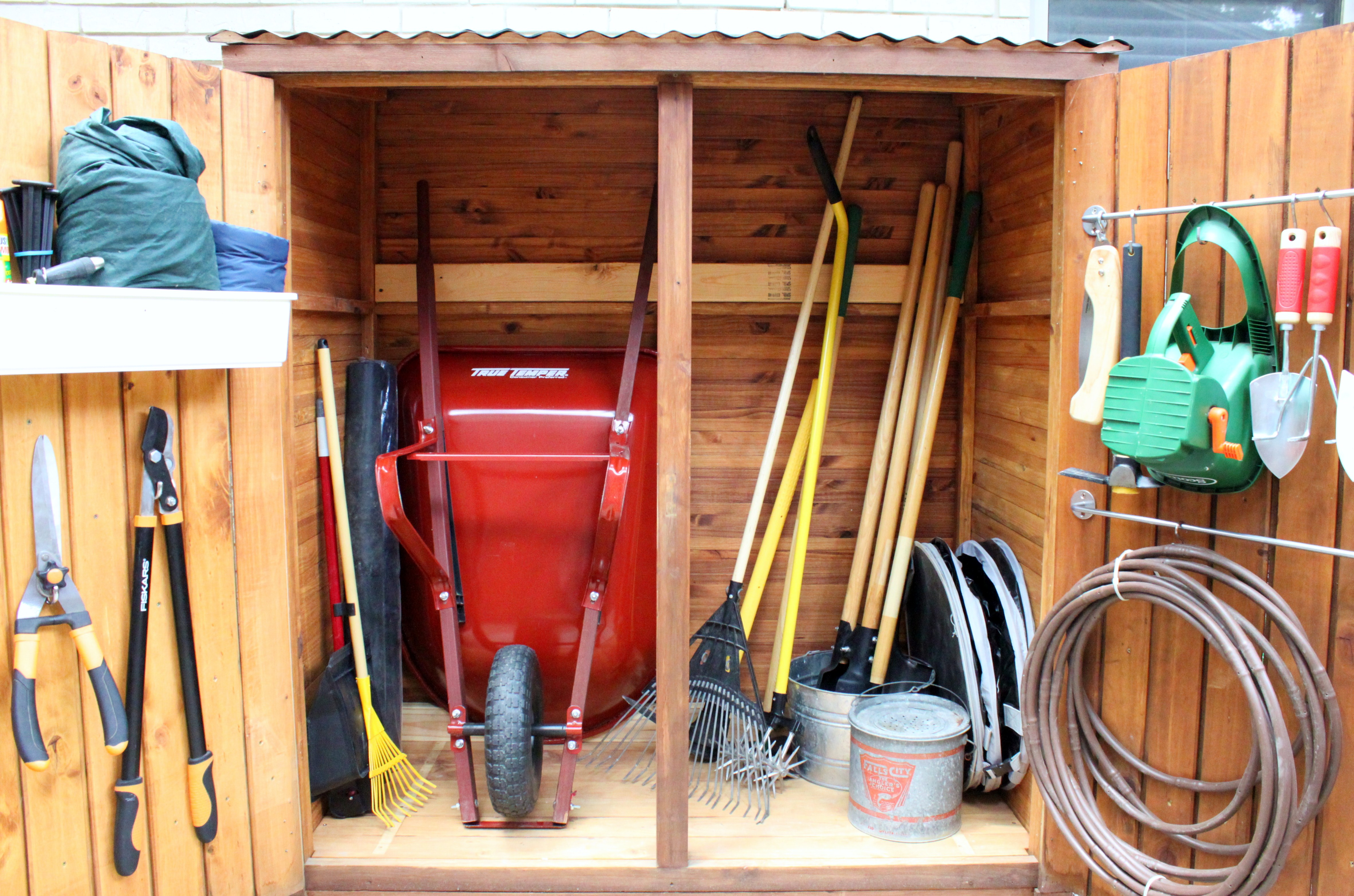 Tool shed updates the cavender diary for Garden tool storage ideas