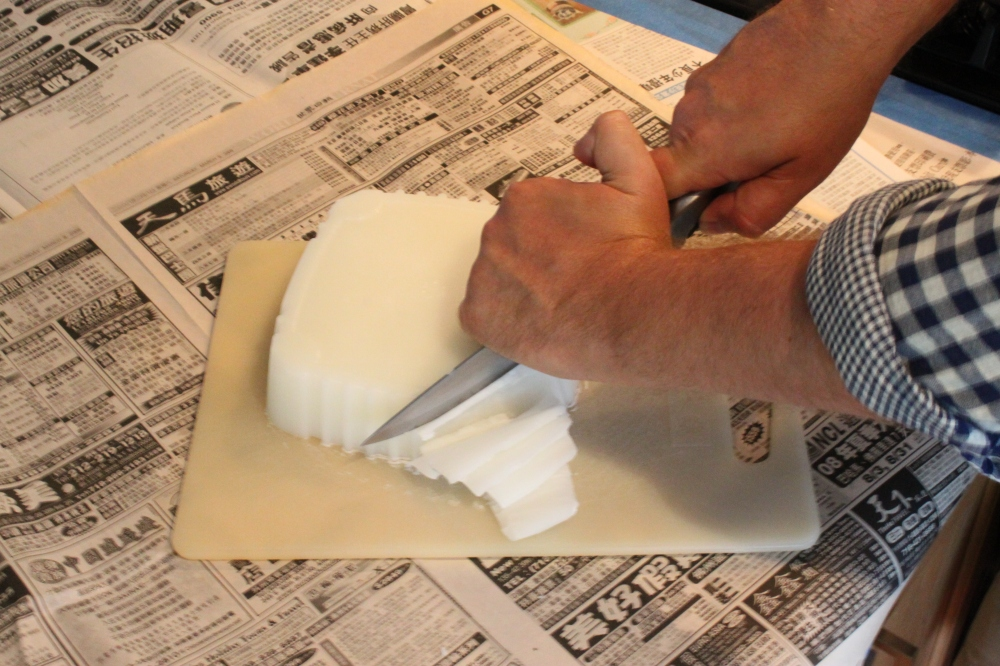 Use a Chef's Knife to Shave the Block of Wax