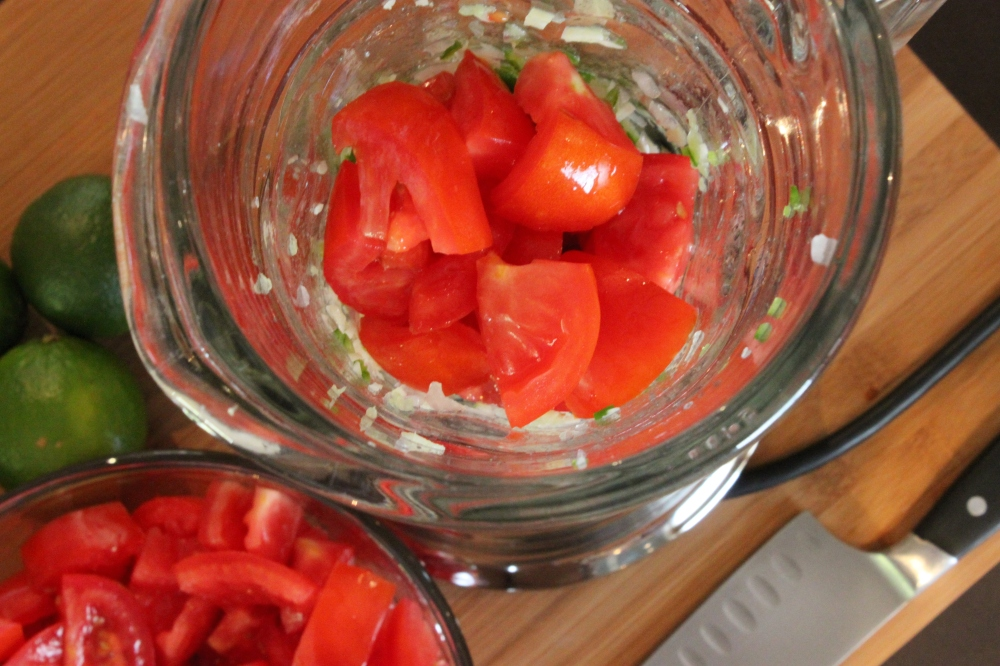 A Handfull of Chopped Tomatos in the Blender