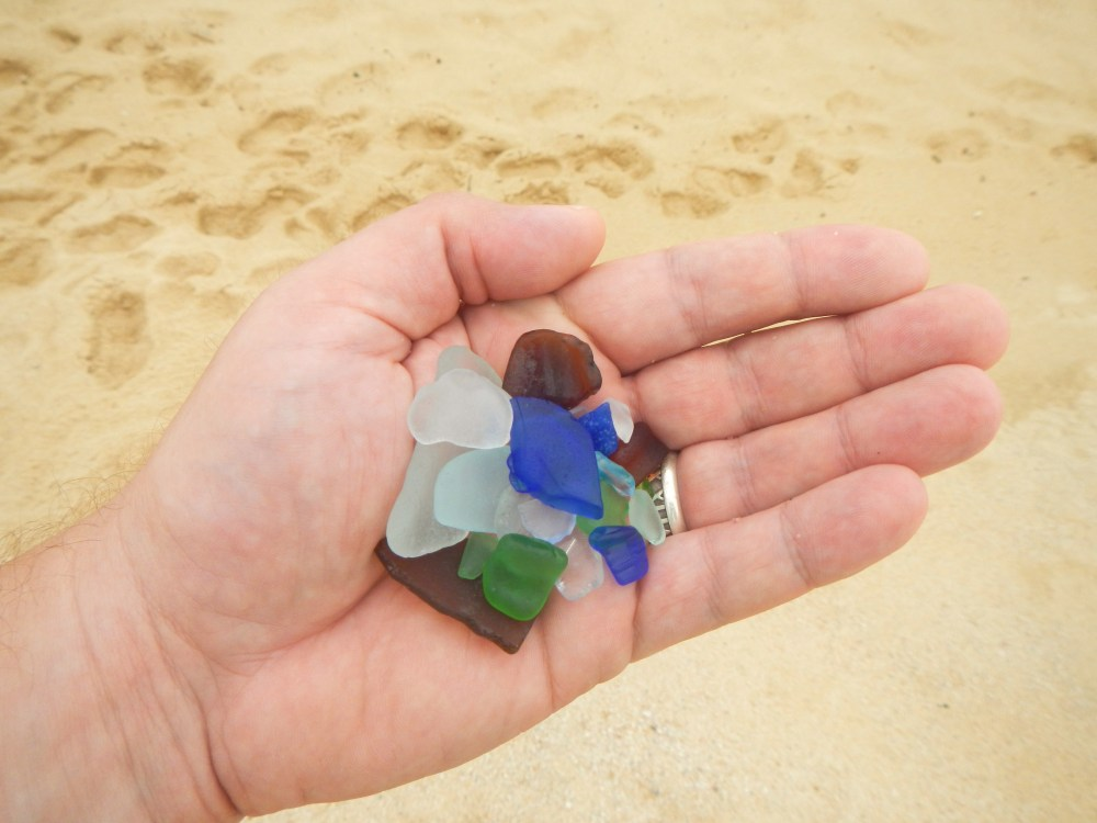 Handfull of Sea Glass found on the Cabo Beach