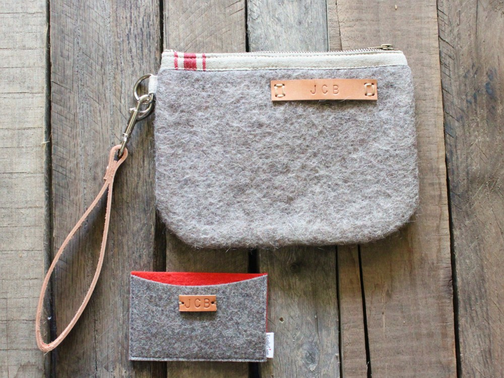 Small Wool Toiletry Bag and Business Card Holder