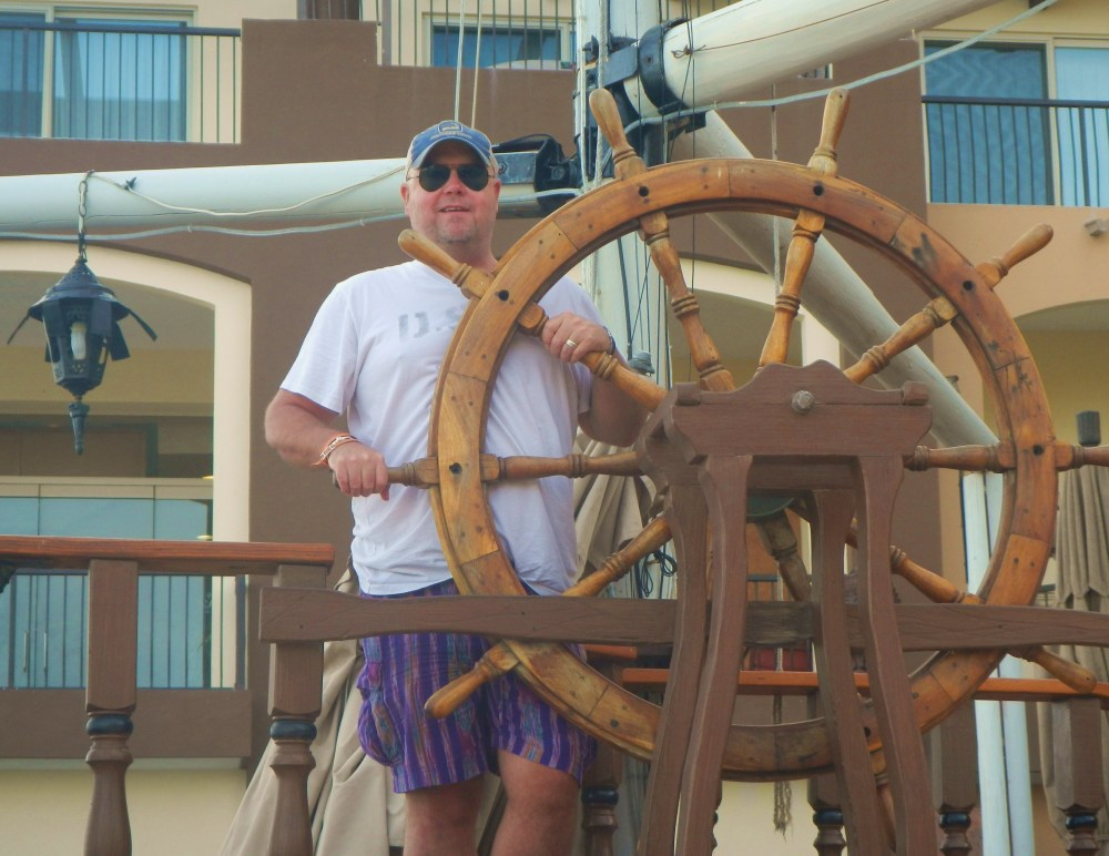 Jamie with the Pirate Wheel in Cabo