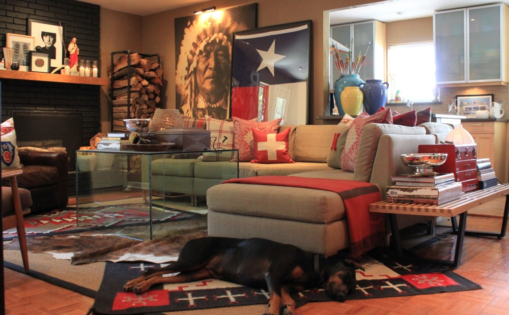 Living Room with Lounging Doberman