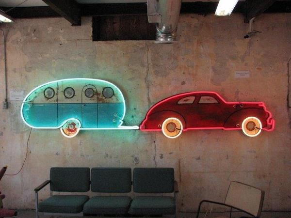 Car and Airstream by Neon Artist Todd Sanders