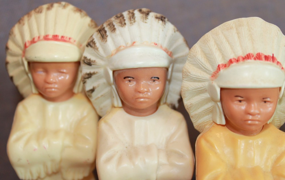 Close Up of 3 Little Celluloid Indians