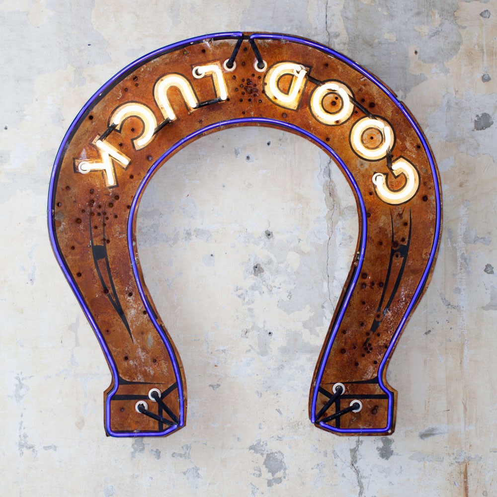 Good Luck Horse Shoe Neon Sign by Roadhouse Relics