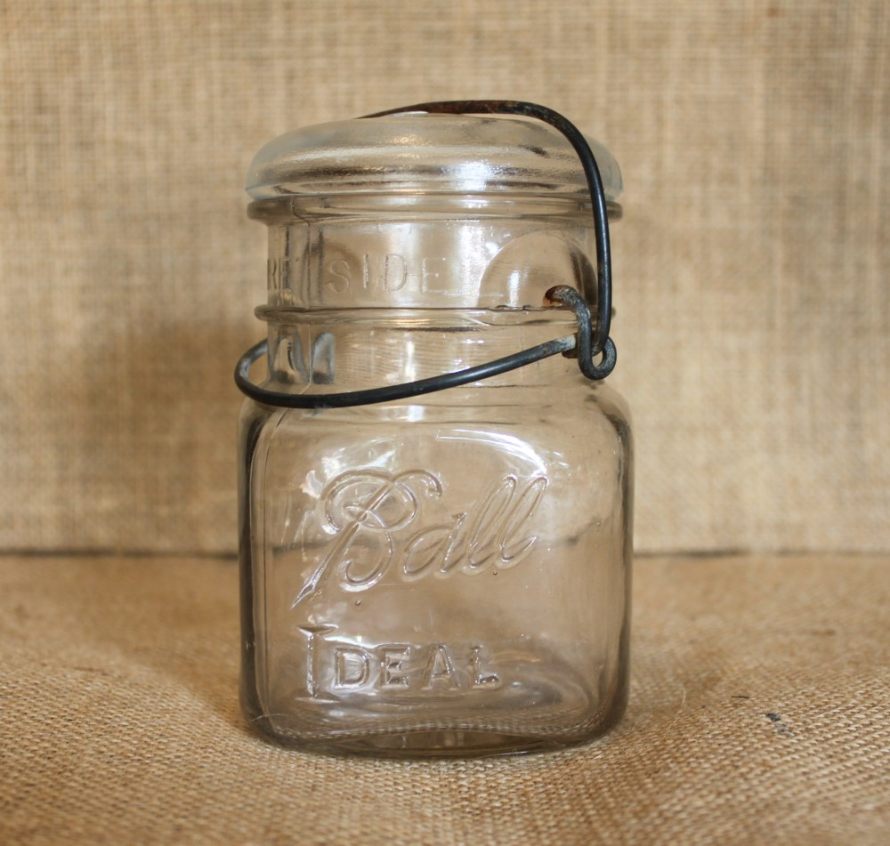Vintage Mason Jar with Hinged Lid