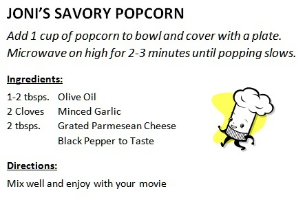 Joni's Savory Popcorn Recipe Card