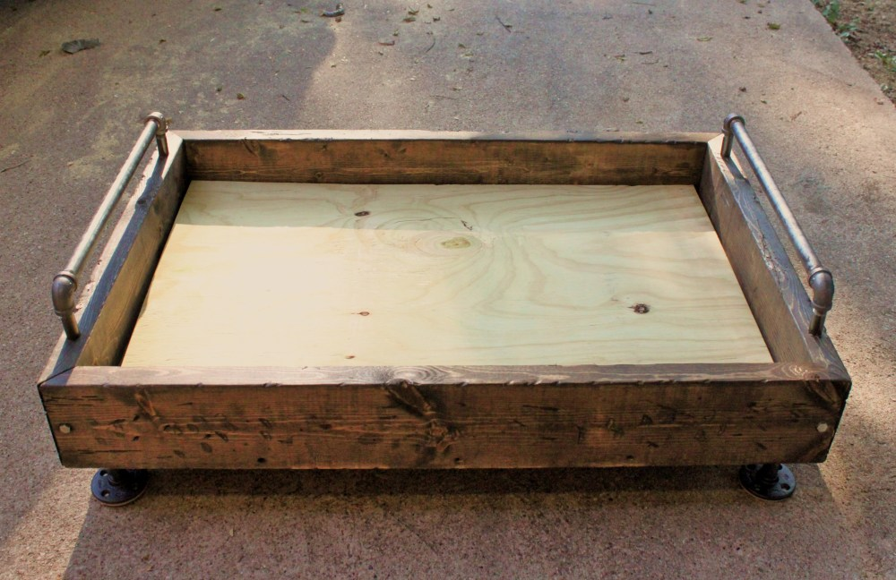 My Finished Dog Bed Box With Feet, Rails and Plywood Bottom