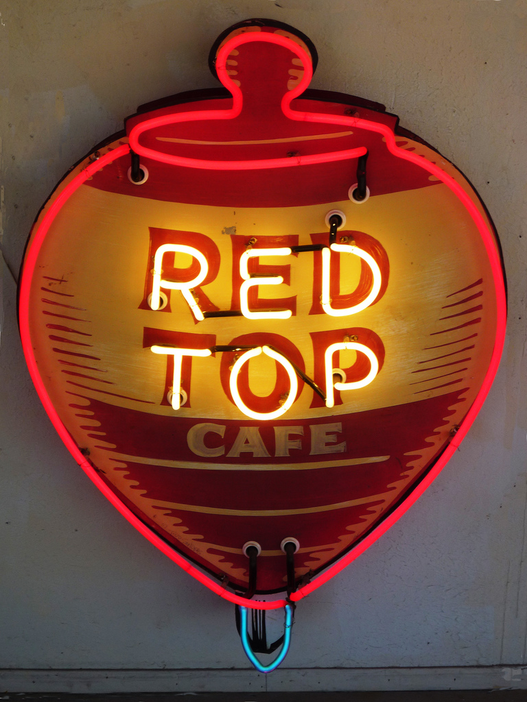 Red Top Cafe Neon Sign by Roadhouse Relics